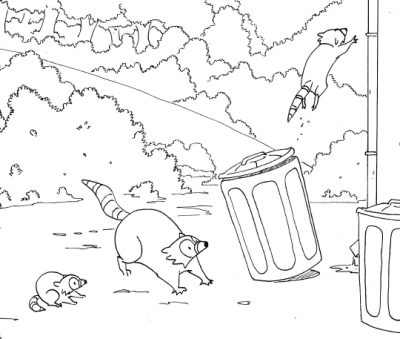 black and white drawing of jumping raccoons